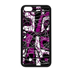 Purple, white, black abstract art Apple iPhone 5C Seamless Case (Black)