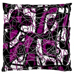 Purple, White, Black Abstract Art Large Flano Cushion Case (one Side)