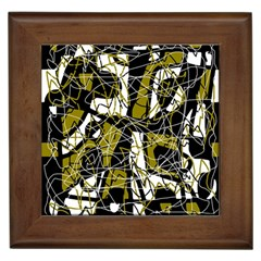 Brown abstract art Framed Tiles