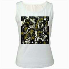 Brown abstract art Women s White Tank Top