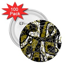 Brown abstract art 2.25  Buttons (100 pack)