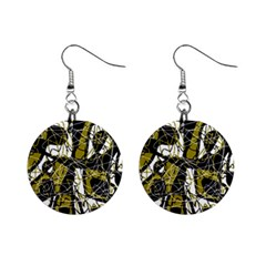 Brown abstract art Mini Button Earrings