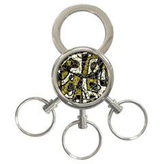 Brown abstract art 3-Ring Key Chains