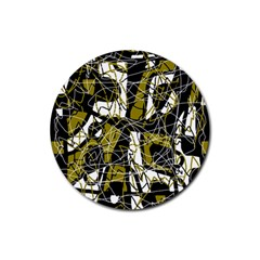 Brown abstract art Rubber Coaster (Round)