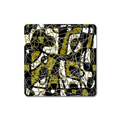 Brown abstract art Square Magnet