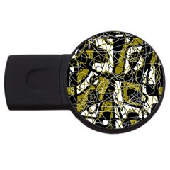 Brown abstract art USB Flash Drive Round (2 GB)