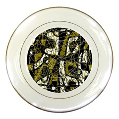 Brown abstract art Porcelain Plates