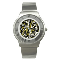 Brown abstract art Stainless Steel Watch