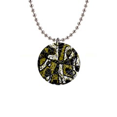 Brown abstract art Button Necklaces