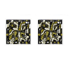 Brown abstract art Cufflinks (Square)