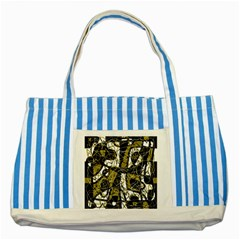 Brown abstract art Striped Blue Tote Bag