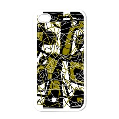 Brown abstract art Apple iPhone 4 Case (White)