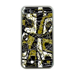 Brown abstract art Apple iPhone 4 Case (Clear)