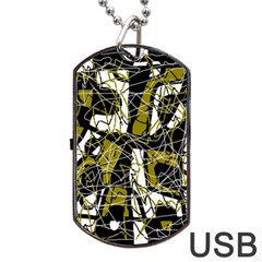 Brown abstract art Dog Tag USB Flash (One Side)