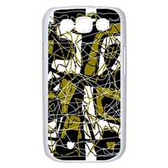 Brown abstract art Samsung Galaxy S III Case (White)