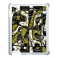 Brown abstract art Apple iPad 3/4 Case (White)