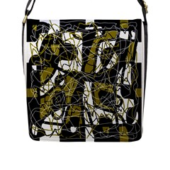 Brown abstract art Flap Messenger Bag (L)