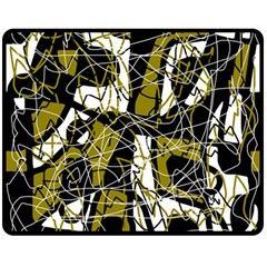 Brown abstract art Double Sided Fleece Blanket (Medium)