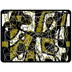 Brown abstract art Double Sided Fleece Blanket (Large)