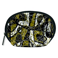 Brown abstract art Accessory Pouches (Medium)