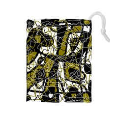 Brown abstract art Drawstring Pouches (Large)
