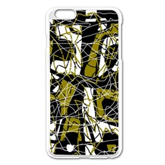 Brown abstract art Apple iPhone 6 Plus/6S Plus Enamel White Case