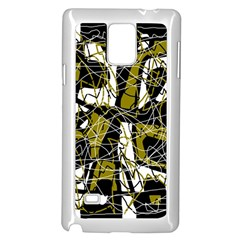 Brown abstract art Samsung Galaxy Note 4 Case (White)