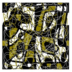 Brown abstract art Large Satin Scarf (Square)