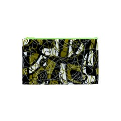 Brown abstract art Cosmetic Bag (XS)