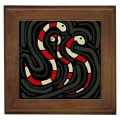 Red snakes Framed Tiles
