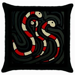 Red snakes Throw Pillow Case (Black)