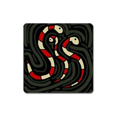 Red snakes Square Magnet
