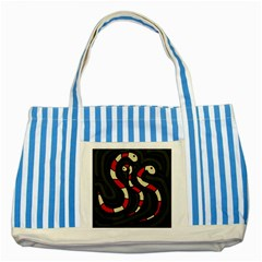 Red snakes Striped Blue Tote Bag