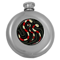 Red snakes Round Hip Flask (5 oz)