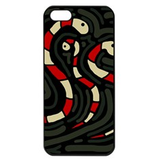 Red snakes Apple iPhone 5 Seamless Case (Black)