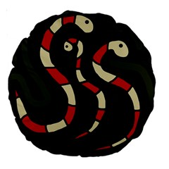 Red snakes Large 18  Premium Round Cushions