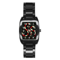 Red snakes Stainless Steel Barrel Watch