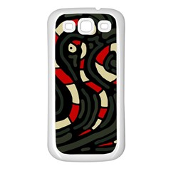 Red snakes Samsung Galaxy S3 Back Case (White)