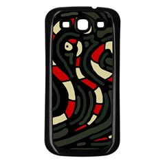 Red snakes Samsung Galaxy S3 Back Case (Black)
