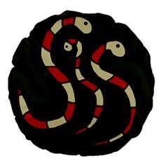 Red snakes Large 18  Premium Flano Round Cushions