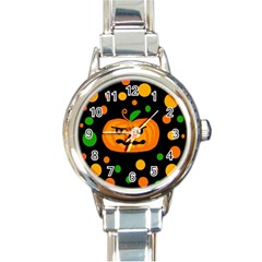 Halloween pumpkin Round Italian Charm Watch