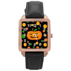Halloween pumpkin Rose Gold Leather Watch