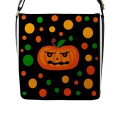 Halloween pumpkin Flap Messenger Bag (L)