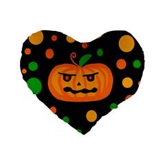 Halloween pumpkin Standard 16  Premium Flano Heart Shape Cushions
