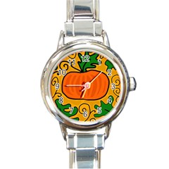 Thanksgiving pumpkin Round Italian Charm Watch