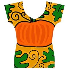 Thanksgiving pumpkin Women s V-Neck Cap Sleeve Top
