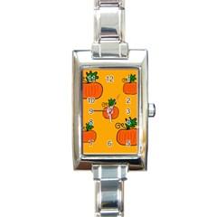 Thanksgiving pumpkins pattern Rectangle Italian Charm Watch