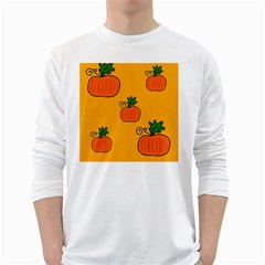 Thanksgiving pumpkins pattern White Long Sleeve T-Shirts
