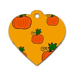 Thanksgiving pumpkins pattern Dog Tag Heart (Two Sides)