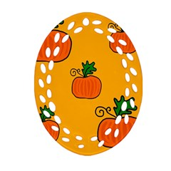 Thanksgiving pumpkins pattern Ornament (Oval Filigree)